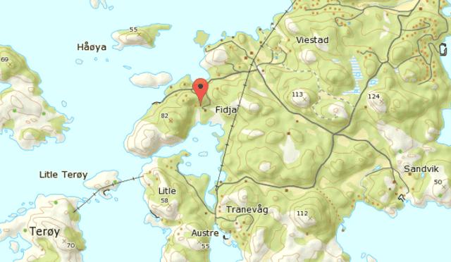 Karte von Fidje in Südnorwegen