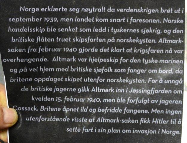 Norwegischer Text zur Altmark Affäre