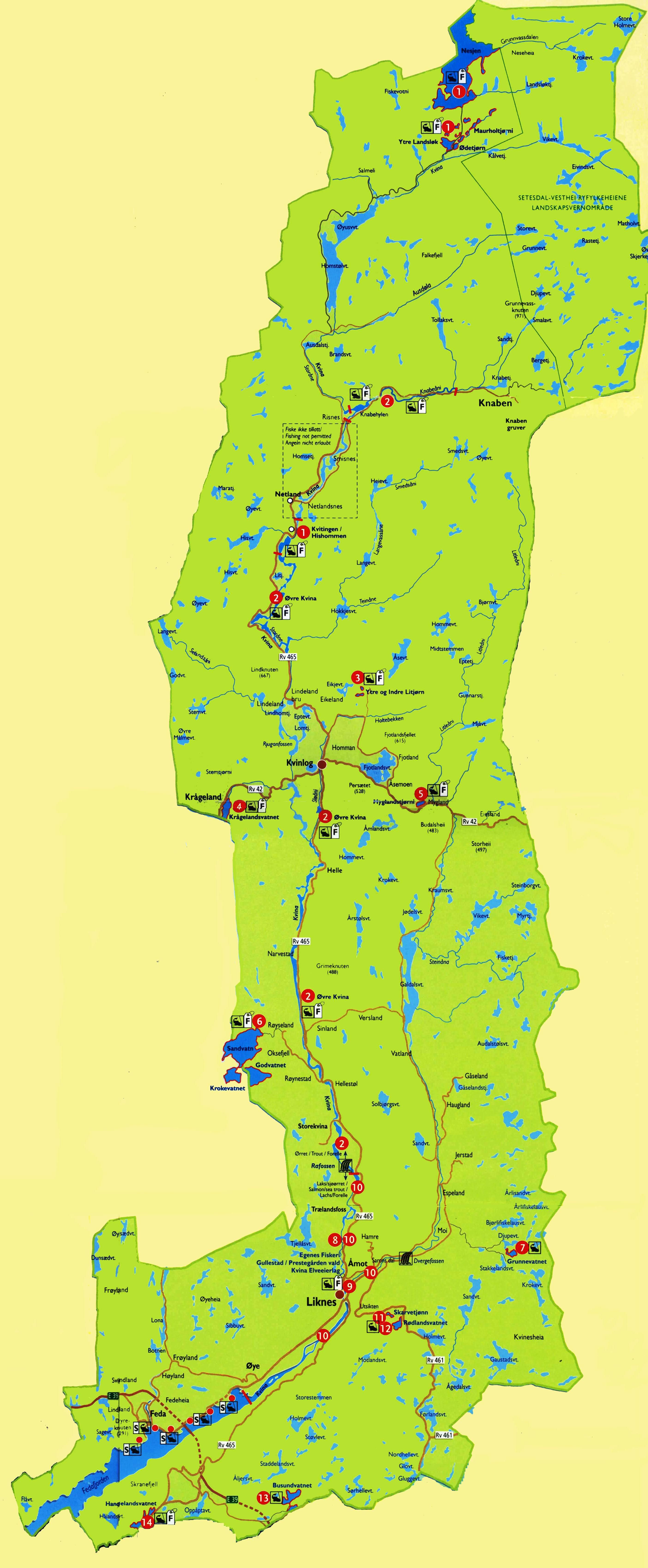 Karte angeln Kvinesdal